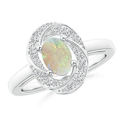 Angara Prong Set Opal Three Stone Ring in Platinum - October Birthstone Ring siAhu6J
