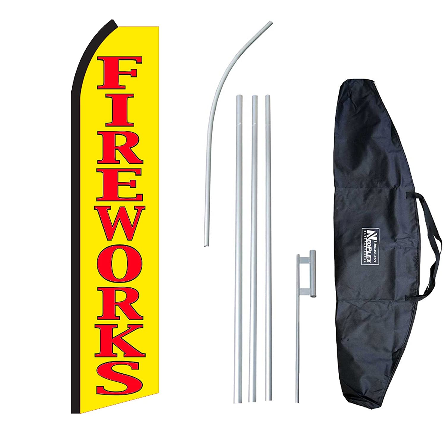 Fireworks 12-Foot Swooper Feather Flag and Case Complete Set.Includes 12-Foot Flag, 15-Foot Pole, Ground Spike, and Carrying/Storage Case NEOPlex
