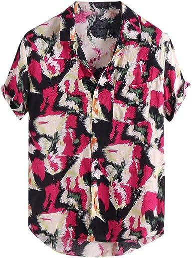 Short Sleeve Button Shirts Mens Printed Loose Beach Lapel Casual Hawaiian Tees YANG-YI Sale