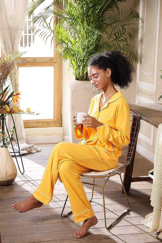 Baumwolle Kn/öpfen Pyjama mit Hose mit Gummibund Nachthemd Nachtw/äsche Sleepwear 2 Teiliges Klassisch Pyjama Set Zweiteiliger Schlafanzug lang SHEKINI Schlafanzug Satin Damen