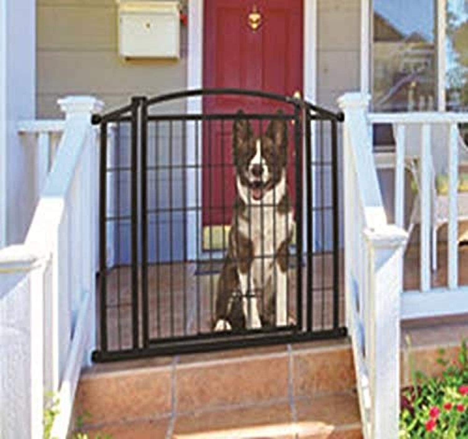 """Carlson Pet Products 460 Outdoor Walk-Thru Gate with Small Pet Door, 33.25 by 29-42"""", Black"""