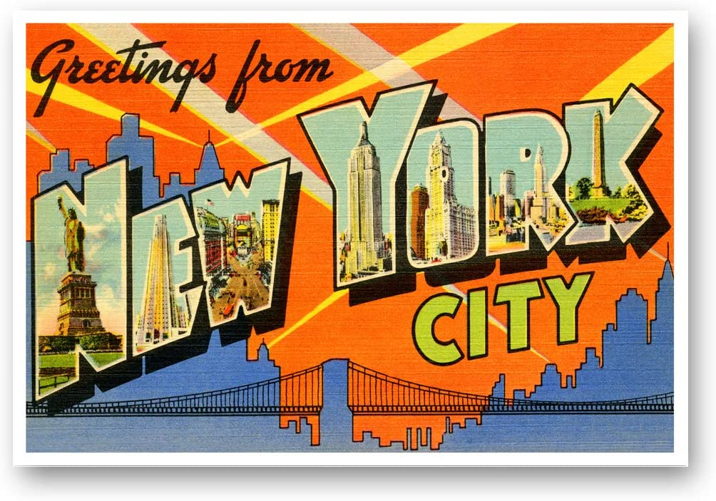 Amazon.com : GREETINGS FROM NEW YORK CITY, NY vintage reprint postcard set  of 20 identical postcards. Large letter NYC city name post card pack (ca.  1930's-1940's). Made in USA. : Office Products