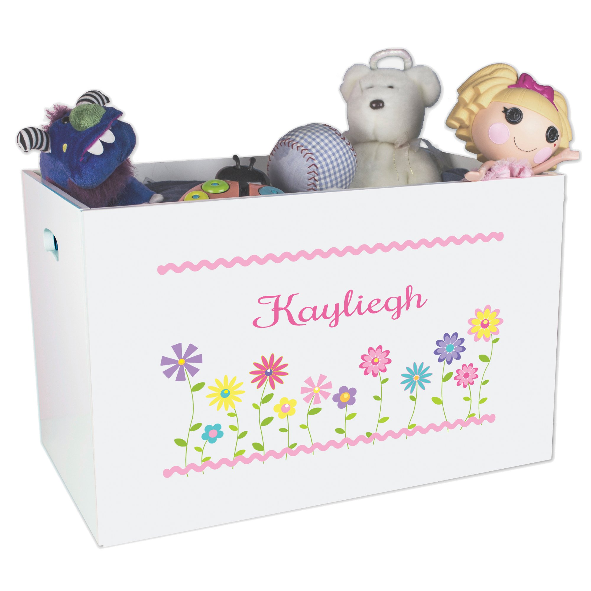 Personalized Flowers Childrens Nursery White Open Toy Box