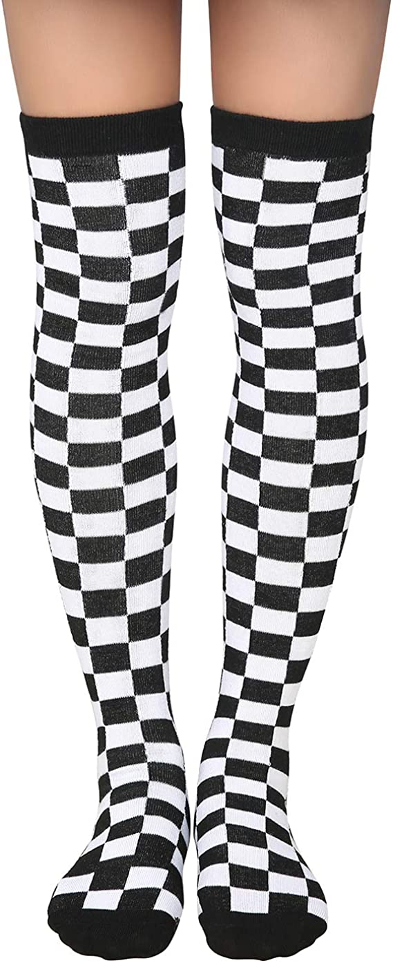Dress Socks Checkered Racing Flag Black White Long Knee Hose Hold-Up Stockings