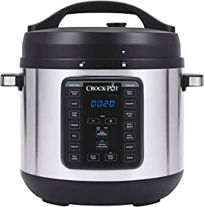 Crock-pot SCCPPC800V1BF 8-Quart Multi-Use XL Express Crock Programmable Slow Cooker with Manual Pressure, Boil & Simmer with Extra Sealing Gasket, Stainless Steel