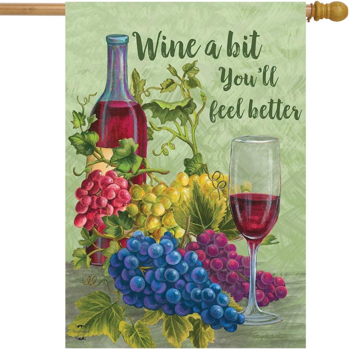 "Briarwood Lane Wine a Bit You'll Feel Better House Flag Grapes Vino 28"" x 40"""