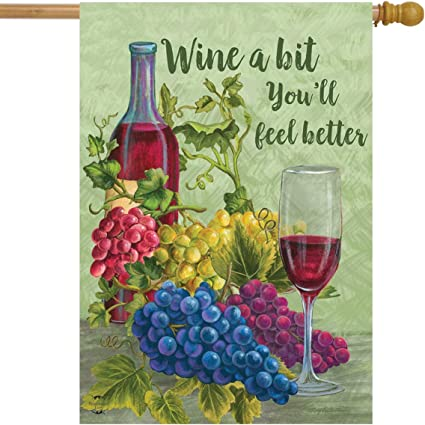 Amazon Com Briarwood Lane Wine A Bit You Ll Feel Better House Flag Grapes Vino 28 X 40 Garden Outdoor