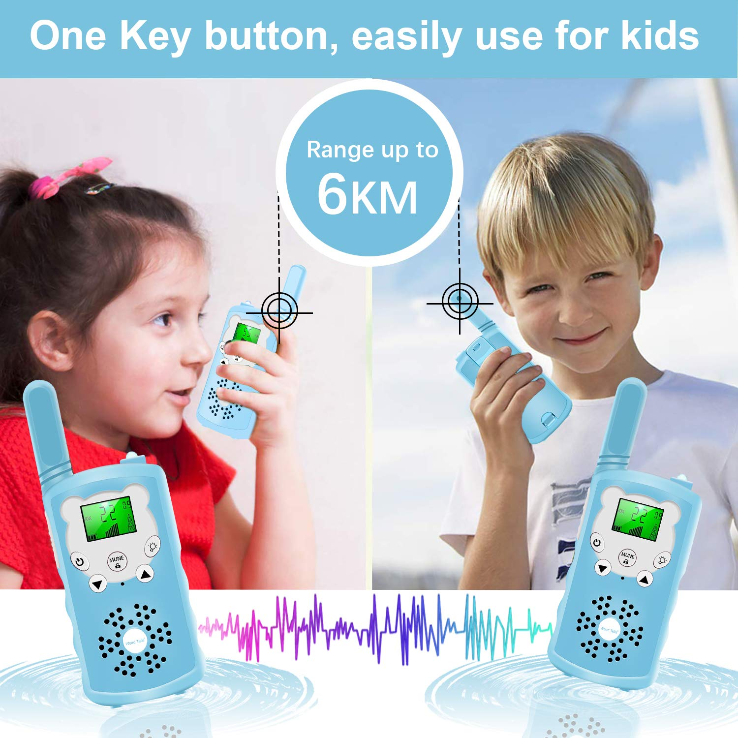 Walkie talkies for Kids - 4-Mile Range Kids walkie talkies with 22 FRS/GMRS Channels, Childrens Toys with BPA-Free ABS eco-Friendly Materials, Great Gift for 3-12 Year Old Boys and Girls,Teen Gift by weird tails (Image #3)