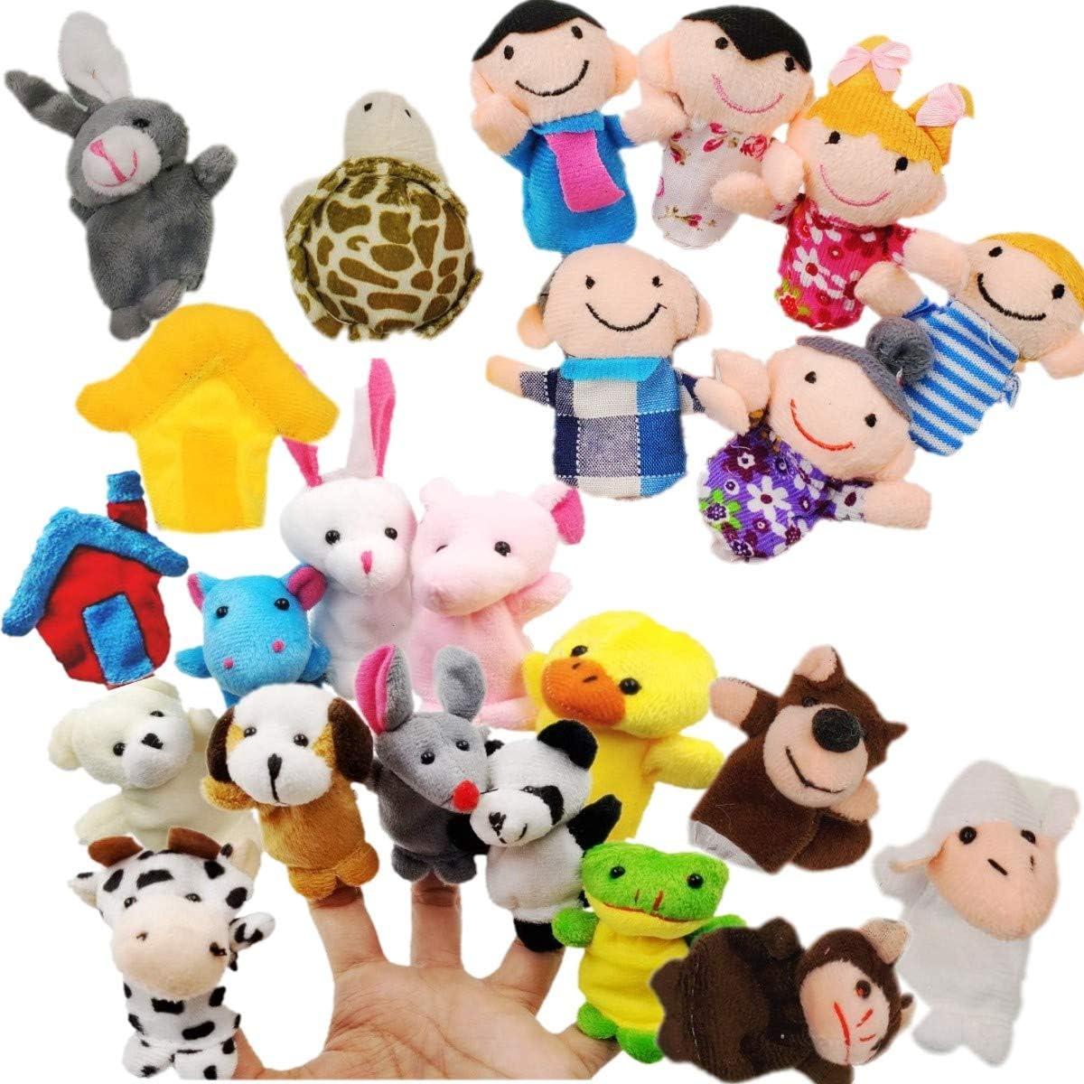 JZK Juguete Marionetas de Mano Animales Marionetas de Dedos pequeños Juguetes Peluche para niños Detalles Fiesta Regalo cumpleaños Rellenos de Bolsas de Fiesta y Calcetines