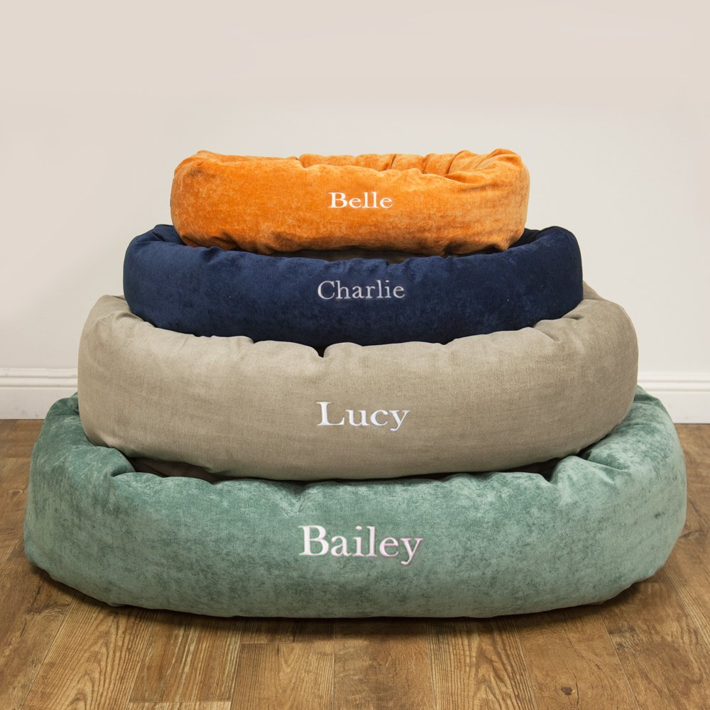 Majestic Pet Personalized Bagel Dog Bed - Machine Washable - Soft Comfortable Sleeping Mat - Durable Supportive Cushion Custom Embroidered - available replacement covers - Small Navy Blue by Majestic Pet (Image #3)