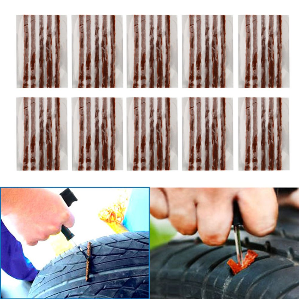 [Pack of 50] Tire Repair Strings - TKOOFN Automotive Tool Tire Repair Plug for Tubeless Off-road Tires Car, Bike, ATV, UTV, Wheelbarrow, Mower - M05007