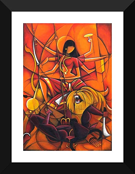 Tallenge Durga Maa Contemporary Indian Painting Small Poster Paper Framed 12 X 17 Inches