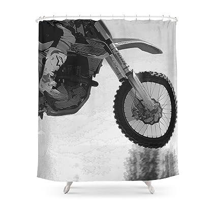 Society6 Motocross Dirt Bike Racer Shower Curtain 71quot