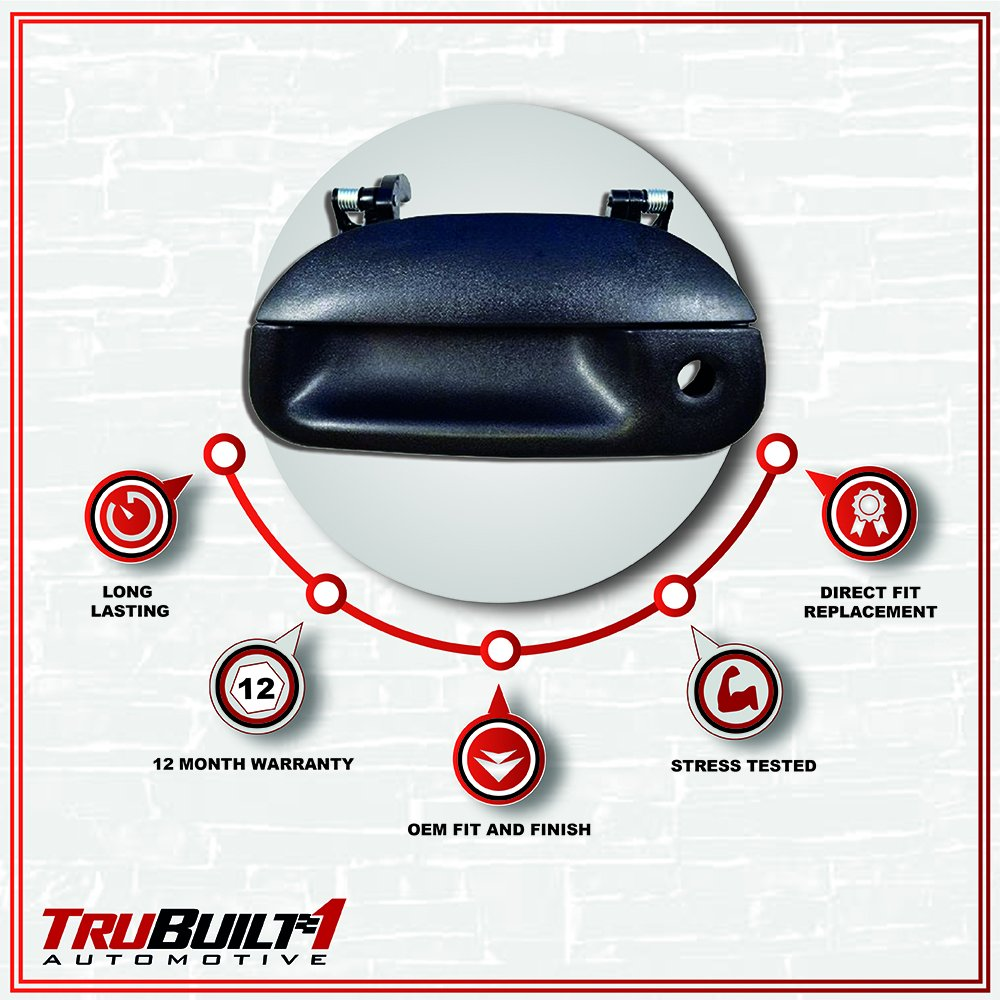 T1A-7L3Z-9943400AA 97-03 FORD F150 PICKUP w//Tailgate Lock Hole black Door Handle textured by TruBuilt 1 Automotive