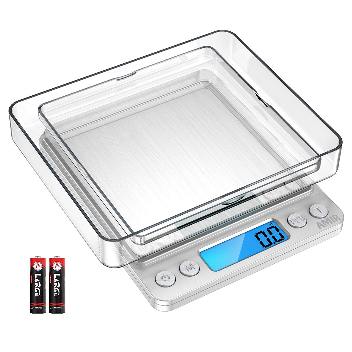 Digital Kitchen Scales, (3kg, 0.1g) Mini Food Scales, Electric Cooking Scales with 2 Trays, Back-Lit LCD Display, Tare and PCS Features, for Ingredients, Jewelry, Coffee