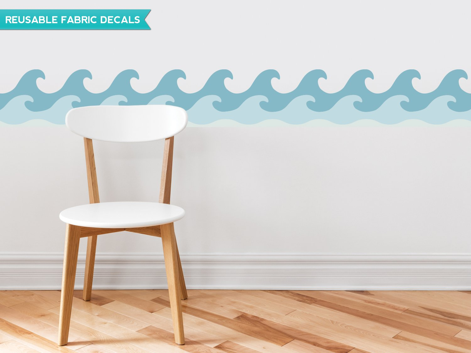 Amazon.com: Sunny Decals Wave Wall Border Fabric Wall Decal Set Of 2, 7.8