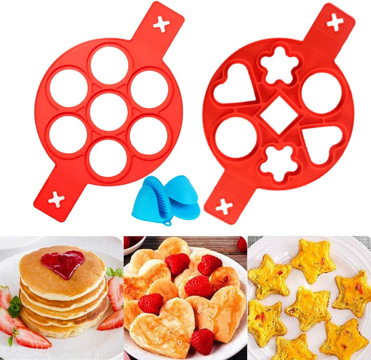 QAQGEAR 2 PCS Pancake Mold Maker Cooking Tool for Frying Muffin Pancake or Shaping Eggs Silicone hand clip Nonstick Silicone Egg Rings Egg Cooker Muffin Round//Heart Shape Mold Fried Egg Mold