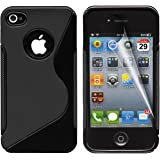 Gadgeo Black Gel Silicone TPU Case Cover for Apple iPhone 4 & 4S with Screen Protector and Cleaning Cloth