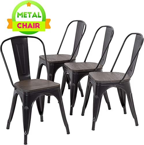 Dining Chairs Set of 4 Indoor Outdoor Chairs Patio Chairs Furniture Kitchen Metal Chairs 18 Inch Seat Height Restaurant Chair Stackable Chair Tolix Side Bar Chairs Wooden Seat 330LBS Weight Capacity