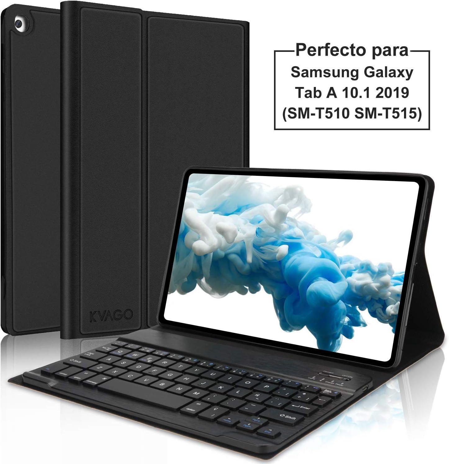 KVAGO Funda con Teclado Español Ñ para Samsung Galaxy Tab A 10.1 2019 con Teclado Bluetooth Inalámbrico,Slim PU Protectora Carcasa Cover para Samsung Tab A 10.1 T510/T515 2019, Negro