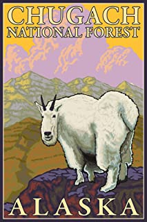 product image for Mountain Goat - Chugach National Forest, Alaska (16x24 Giclee Gallery Print, Wall Decor Travel Poster)