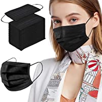 Boihedy Black Face Masks, 100pcs Disposable Face Mask for Adult, 3 Ply Protection Safety Masks