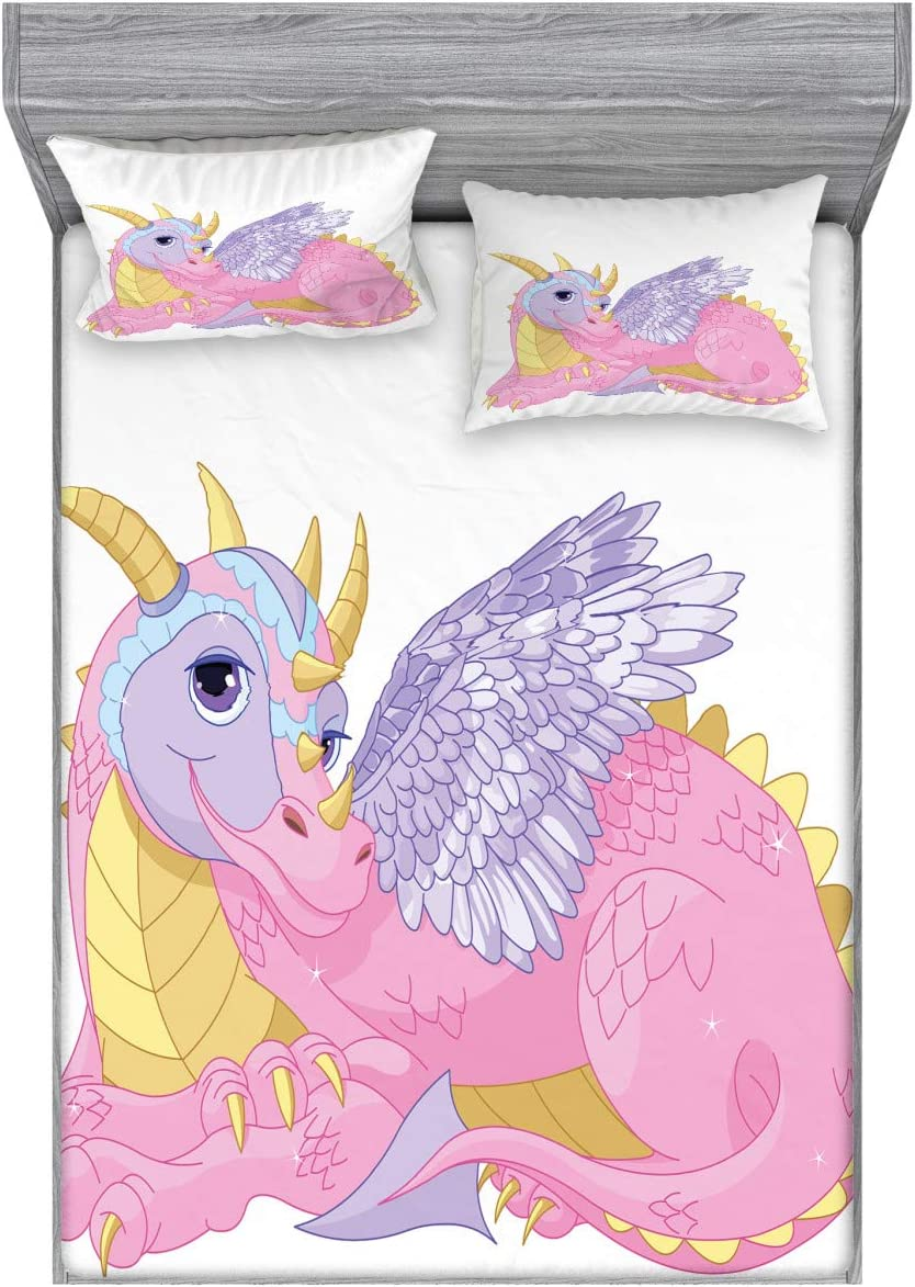 Ambesonne Cartoon Fitted Sheet & Pillow Sham Set, Illustration of Lady Dragon Mythical Fairytale Fantasy Animal, Decorative Printed 3 Piece Bedding Decor Set, Full, Pink