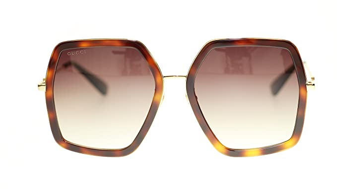caa2d20058926 Image Unavailable. Image not available for. Colour  Gucci Women Design  Sunglasses GG0106S 002 Havana Gold Brown ...