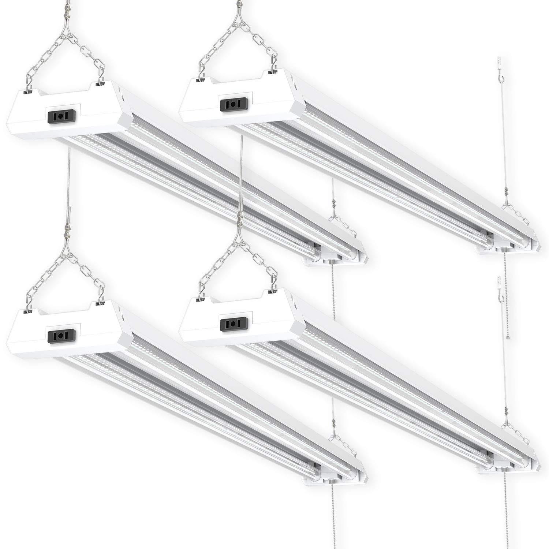 Sunco Lighting 4 Pack 4ft 48 Inch LED Utility Shop Light 40W (260W Equivalent) 5000K Kelvin Daylight, 4500 Lumens, Double Integrated Linkable Garage Ceiling Fixture, Clear Lens - Energy Star/ETL