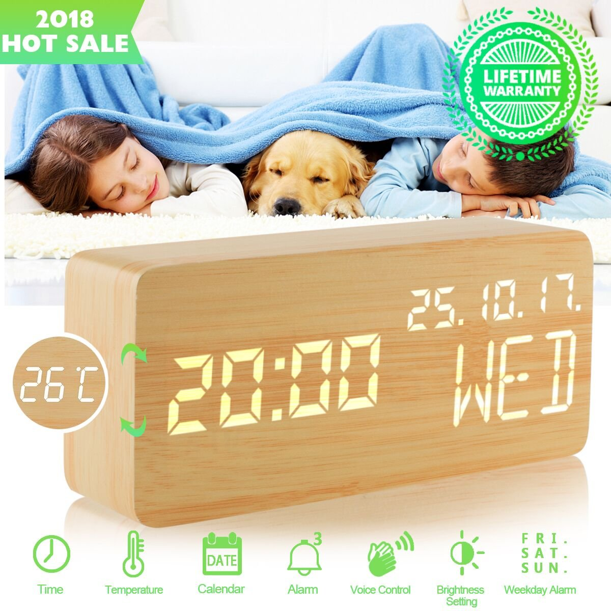 wood alarm clock,small digital clock temperature,rechargeable alarm clock electric,led clock,wooden clock,bedside clocks 3 Alarms 3 Level Brightness voice control Show Time Date Week for bedroom desk