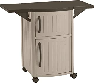 product image for Suncast Outdoor Grilling Prep Station - Portable Outdoor BBQ Entertainment Storage Table Prep Station - Store Grilling Accessories, Condiments - Taupe and Brown