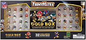 Teenymates NFL Gold Box Superstar Collector Set, 32 Exclusive Figures, Featuring Metallic Gold Highlights