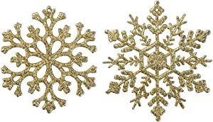 Glitter Snowflake Ornaments Christmas Tree Decorations 4.7''/30CT Christmas Hanging Decorations with Silver Rope for Wedding Birthday Home Xmas Tree Window Door Accessories(Gold)