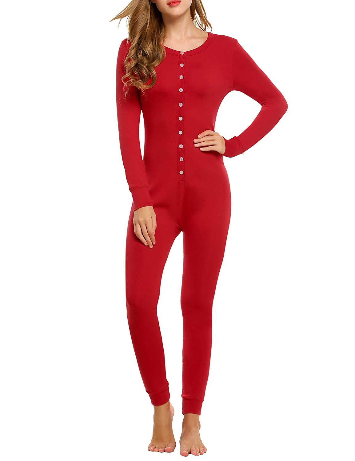 Hotouch Womens Long Sleeve Onesie Union Suit Thermal Underwear Set Sleepwear Pajama Jumpsuit Union S-XXL AMK005180
