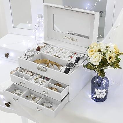 Amazoncom LANGRIA White Leather Jewelry Box Organizer for Wowen