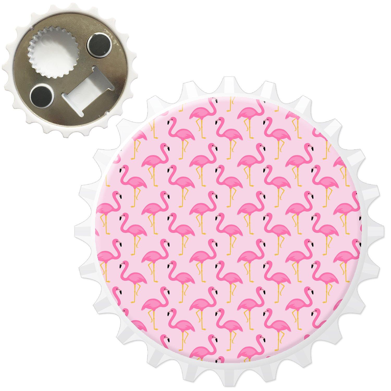 Pink Flamingos in Diagonal Design Bottle Opener Fridge Magnet