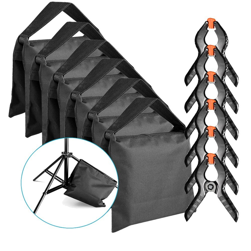 Neewer 6-Pack Heavy Duty Sandbag (Black) for Photo Studio Light Stands Boom Arms with 6-Pack Muslin Backdrop Spring Clamps Clips (Empty Sandbag) by Neewer