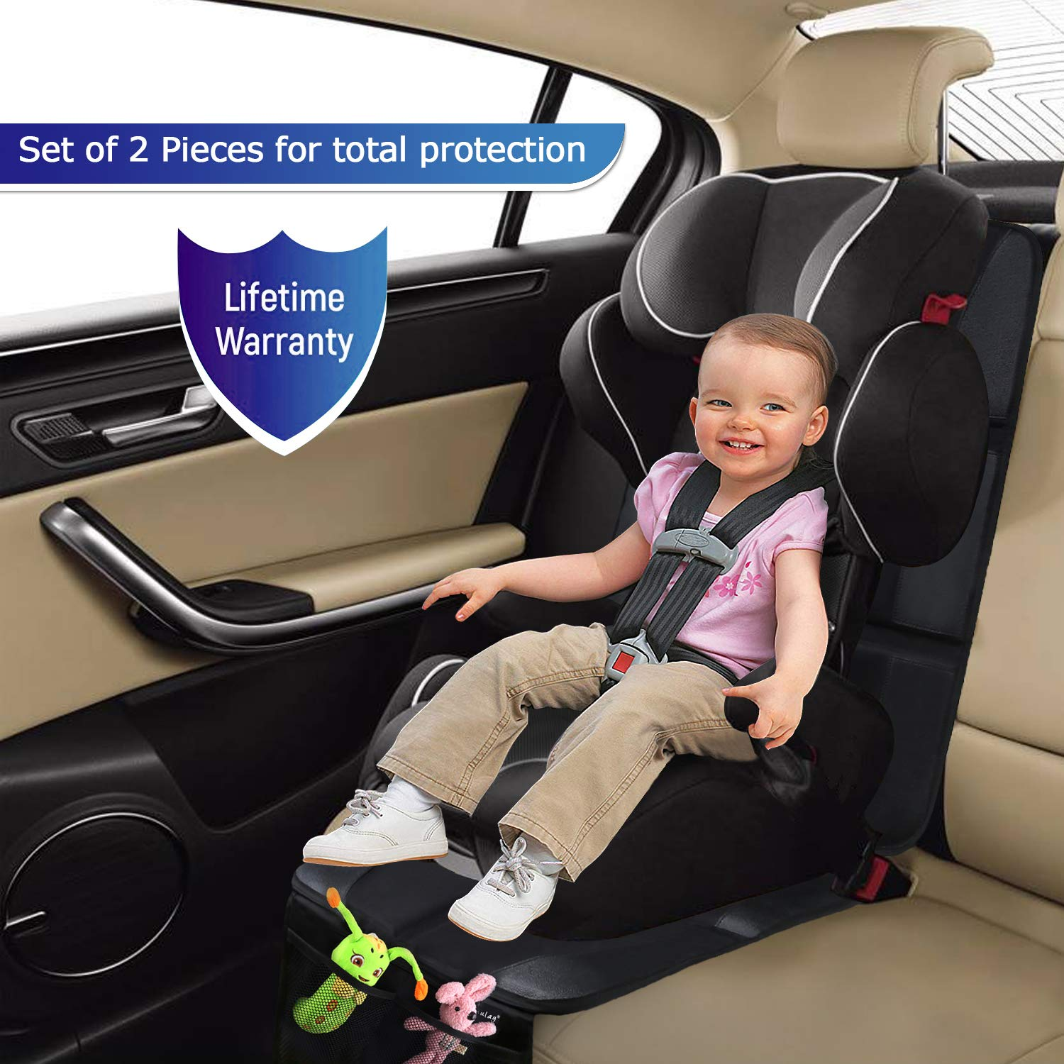 Large Auto Car Seat Protectors for Child /& Baby Car Seats Thick Padding Waterproof Baby Car Seat Protector for Leather Seats Vehicle SUV Sedan Leather Seats Dog Mat Cover Pads Car Seat Protector