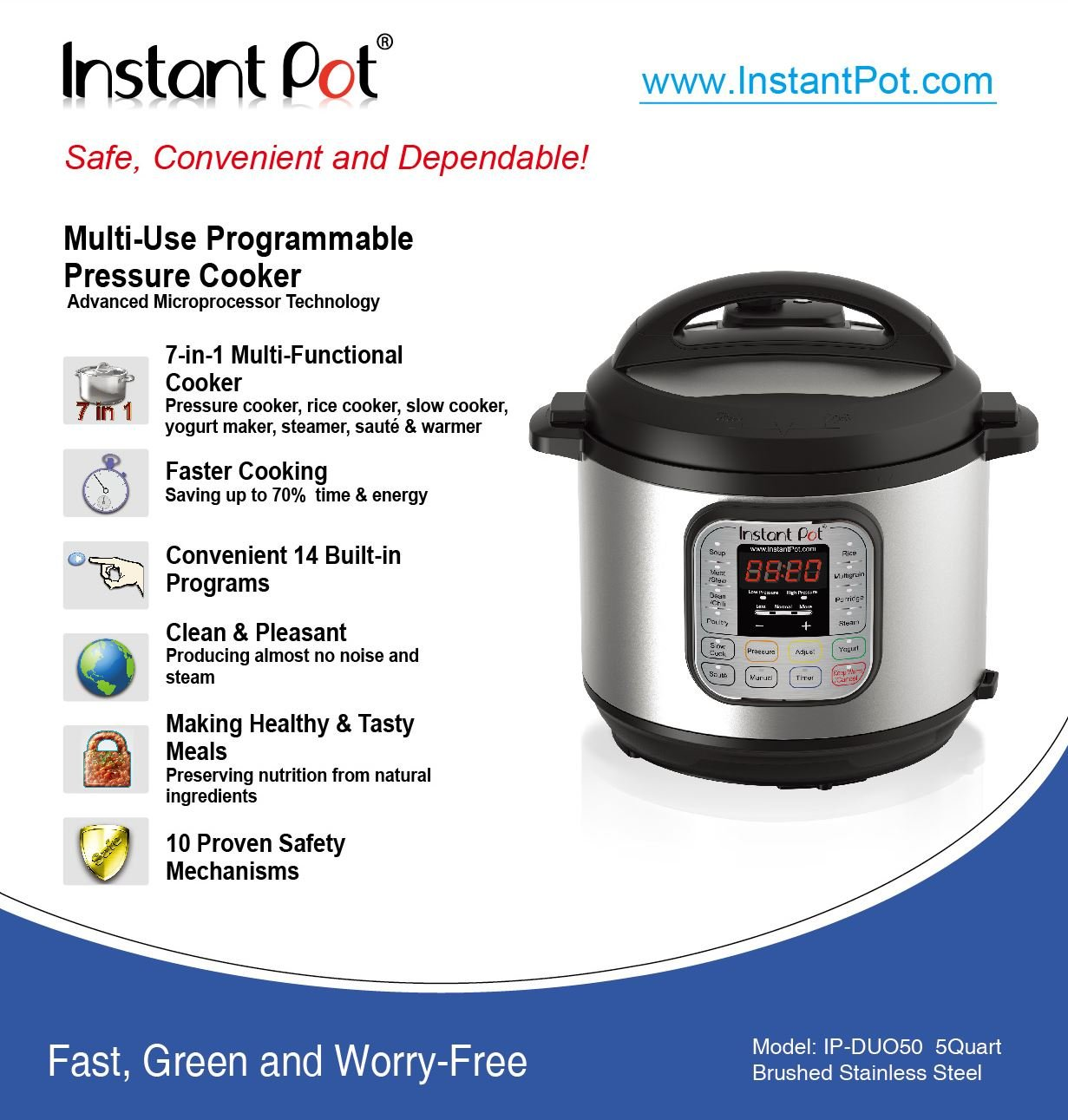 Instant Pot DUO50 7-in-1 Multi-Use Programmable Pressure Cooker, 5 Quart/900W by Instant Pot (Image #6)