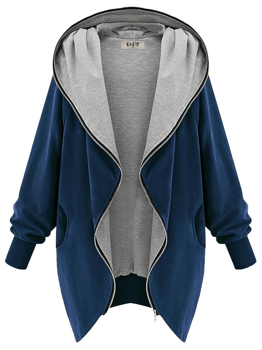 DJT Women's Ladies Zip Up Long Hooded Loose Parka Cardigan Top Jacket Coat D146C05BLE02