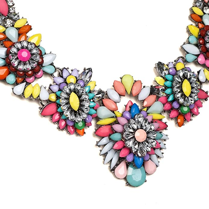 Isajewelry Fashion Colorful Flower Statement Necklace Rhinestone Muticolor Rope Chunky Bubble Bib Women Jewelry YcE7Bv