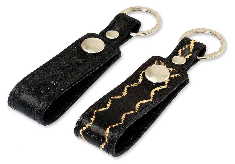 pair NOVICA Black Leather Key Rings Key to Success in Black