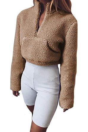 Zilcremo Mujeres Otoño Casual Polar Sudadera Crop Tops Cuello Alto Sudaderas Streetwear: Amazon.es: Ropa y accesorios
