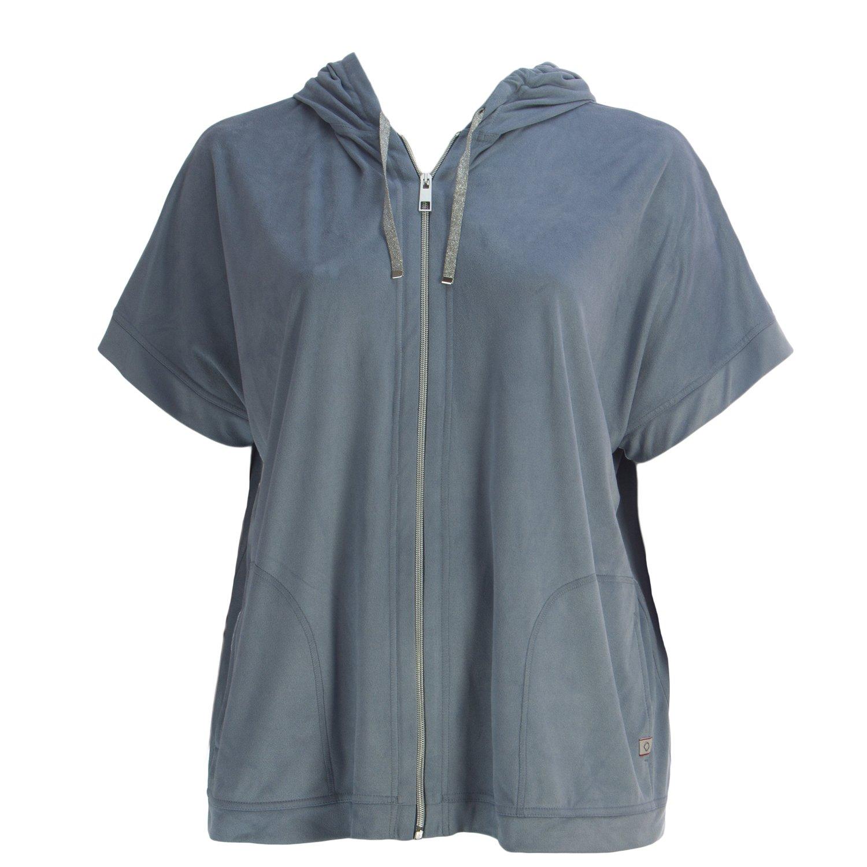 Marina Rinaldi Women's Oblungo Suede Zip Hoodie Large Blue