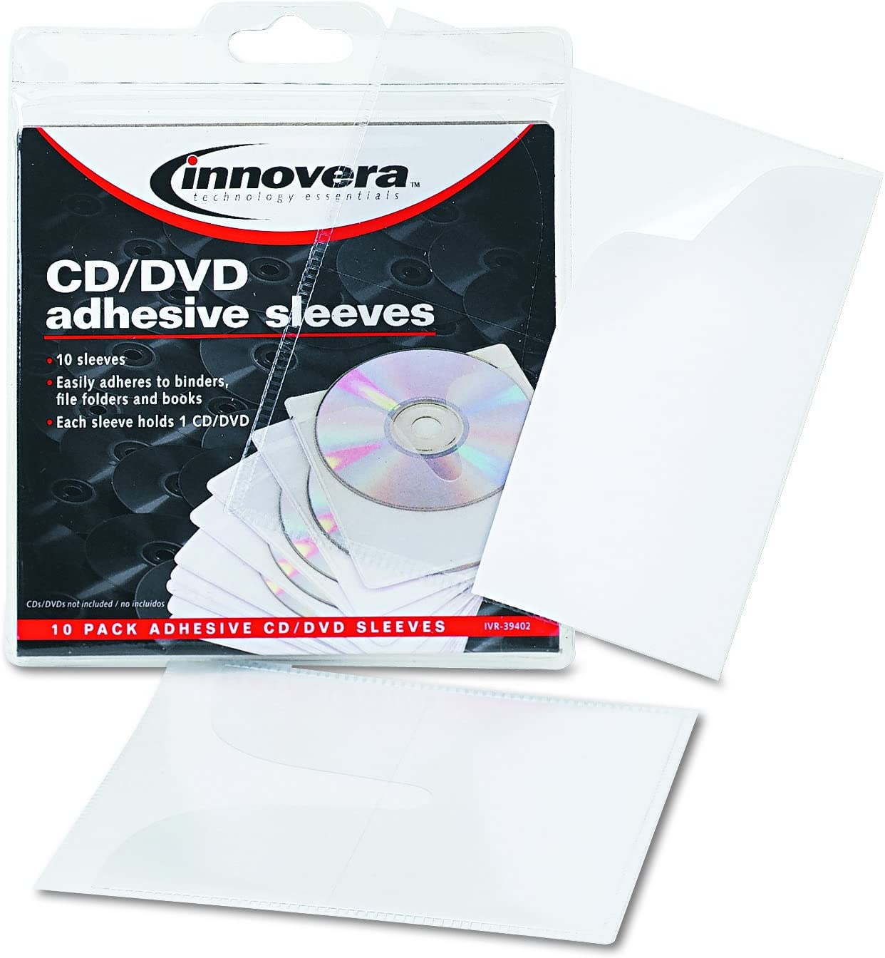Pack of 10 Innovera 39402 Self-Adhesive CD//DVD Sleeves