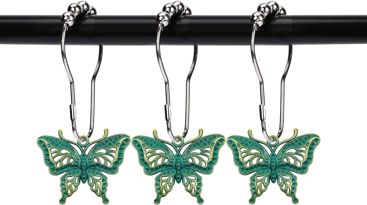 ZILucky Set of 12 Butterfly Decorative Shower Curtain Hooks Garden Nature Insect Style Theme Home Shower Curtain Rings Decor Accessories Bathroom Rustproof (Patina)