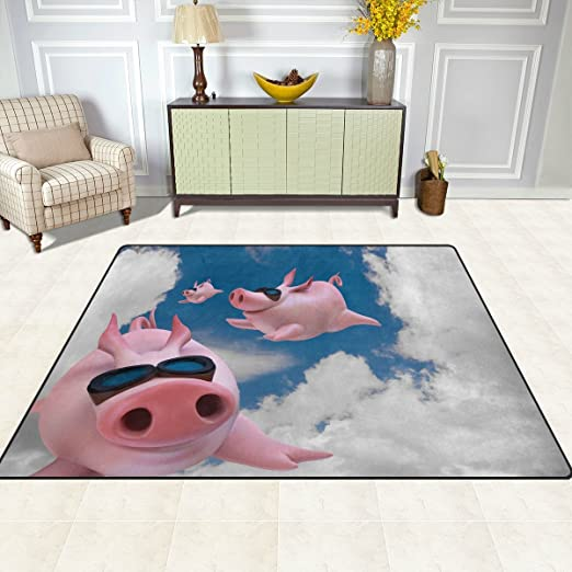 Amazon Com Alaza Blue Sky Pig Piggy Flying Area Rug Rugs For Living Room Bedroom 7 X 5 Home Kitchen