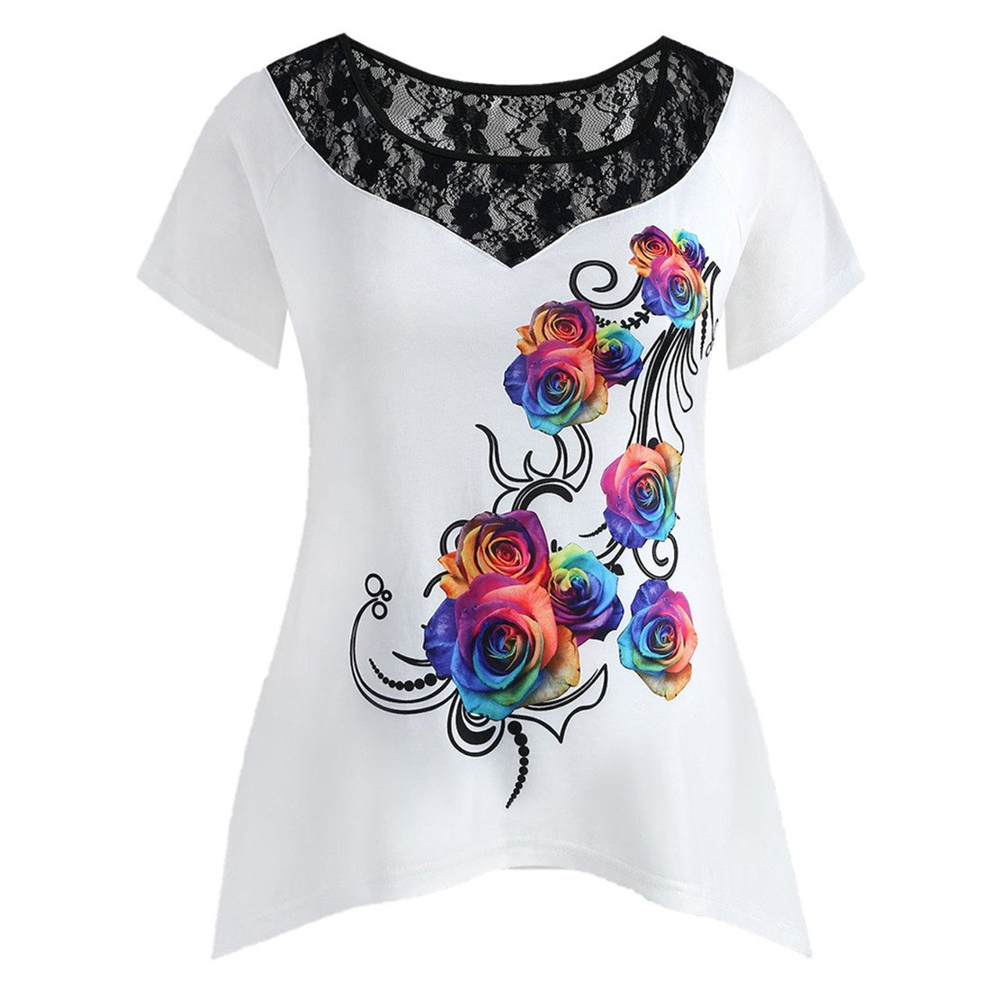 ZHANGVIP Womens Plus Size Floral Printed Colorful Rose Lace Short Sleeve Round Neck Tee T-Shirt Tops (XL, White)