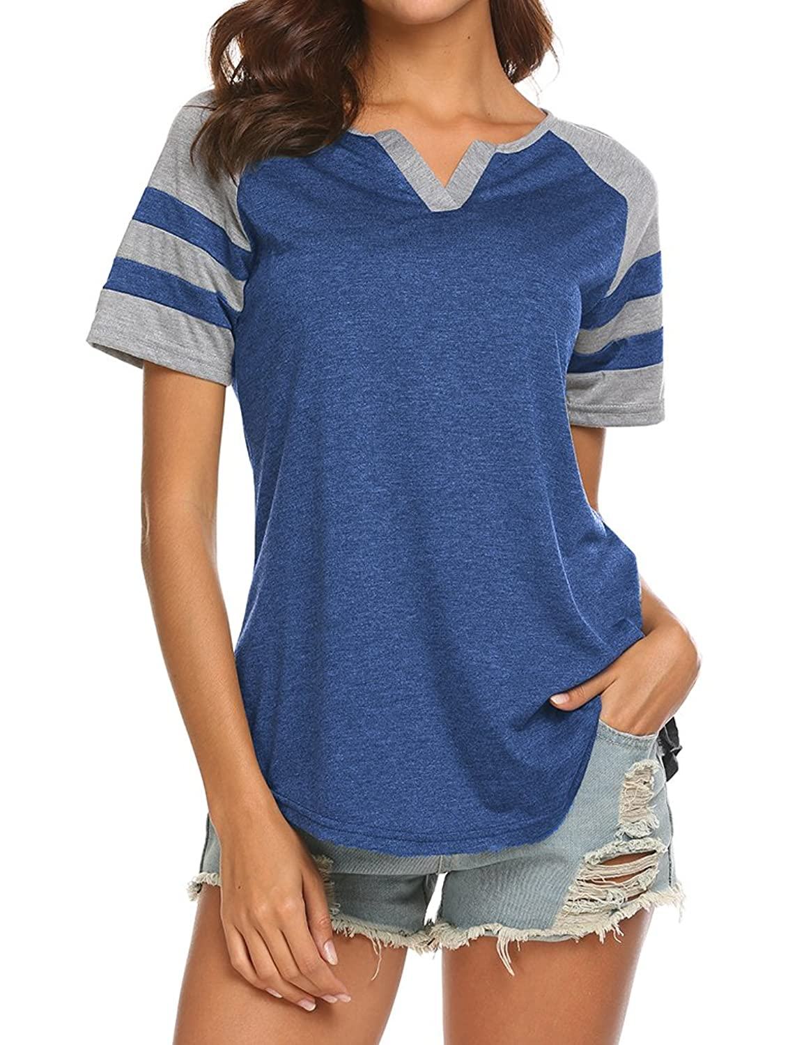 9a4d3fe0f This raglan shirt features notch neck,short sleeve,flowy hem,color block  and loose fit.It is very simple, basic but a must have piece in ...