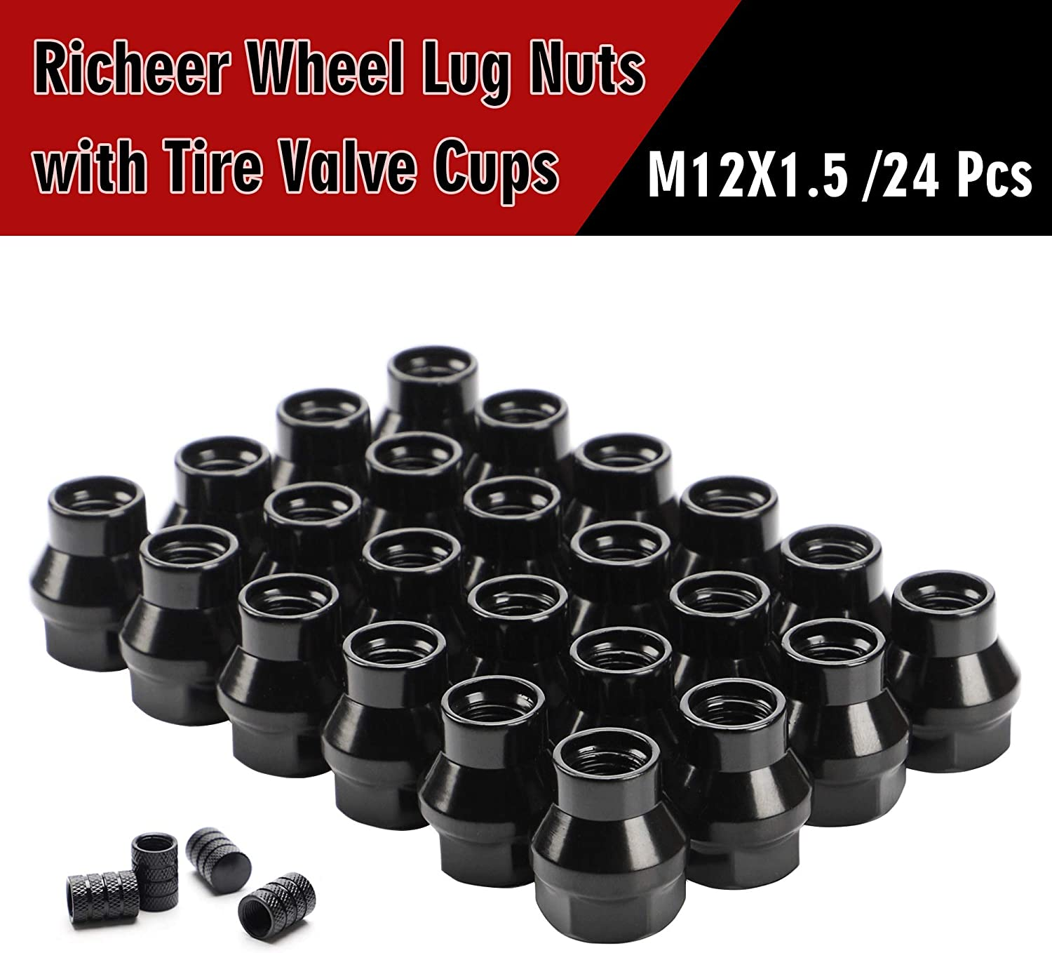 24PCS 7mm Shank Thread Pitch M12x1.5 Aftermarket Wheels Lug Nuts for Tacoma 4Runner Tundra FJ Cruiser Ventury Sequoia Fortuner Land Cruiser HILUX GX460 12x1.5 Black Extend Open Lug Nuts